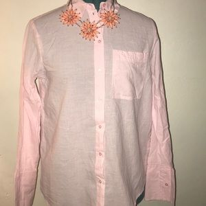 Pink Topshop Long sleeve button down with slit